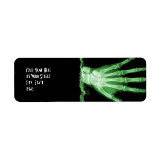 Etiquetas esqueléticas del remite de la mano de la etiqueta de remite