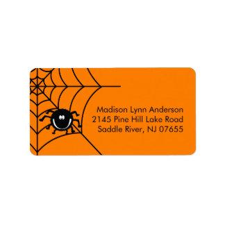 Etiquetas fantasmagóricas del remite de la araña etiqueta de dirección