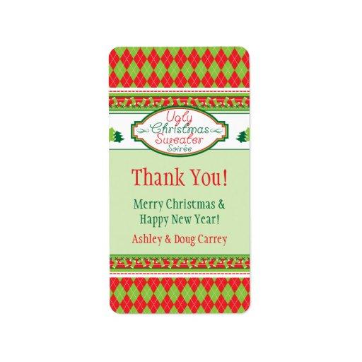 Etiquetas feas del regalo del favor de Navidad del Etiquetas De Dirección