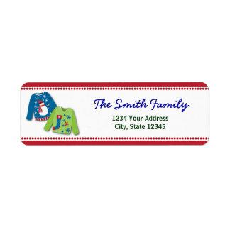 Etiquetas feas del remite del suéter del navidad etiquetas de remite