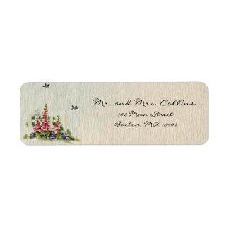 Etiquetas felices de las flores etiqueta de remitente