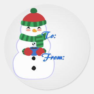 Etiquetas felices del navidad del muñeco de nieve