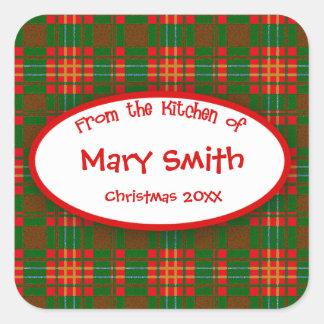 Etiquetas festivas del personalizado para las pegatina cuadrada