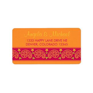 Etiquetas florales anaranjadas rosadas del remite etiqueta de dirección