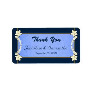 Etiquetas florales azules rústicas del favor del etiquetas de dirección