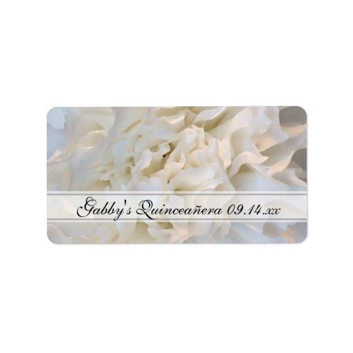 Etiquetas florales blancas de Quinceañera Etiqueta De Dirección