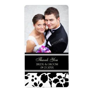 Etiquetas florales blancas negras del boda de la f etiquetas de envío
