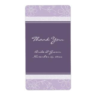 Etiquetas florales blancas púrpuras del boda etiquetas de envío
