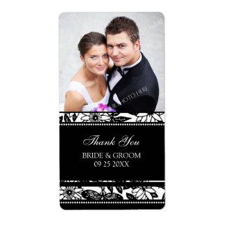 Etiquetas florales blancos y negros del boda de la etiqueta de envío