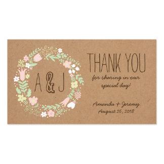 Etiquetas florales caprichosas del favor del papel plantilla de tarjeta personal