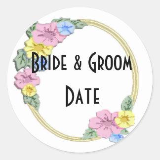 Etiquetas florales de encargo del boda de la pegatina redonda