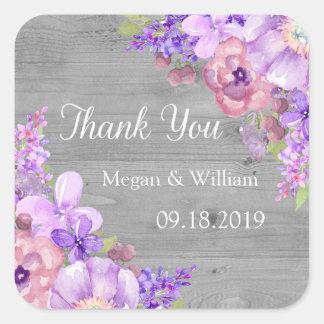 Etiquetas florales del boda de la lavanda púrpura pegatina cuadrada