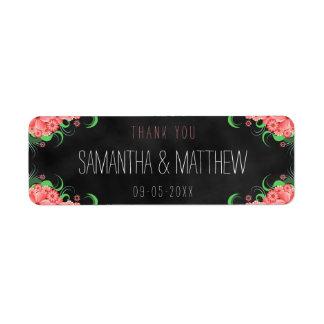 Etiquetas florales del favor del boda de la etiqueta de remitente
