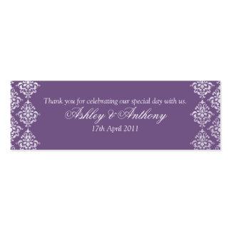 Etiquetas florales del favor del boda del damasco  tarjetas de visita