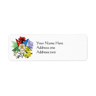 Etiquetas florales del remite de la estrella del etiqueta de remite