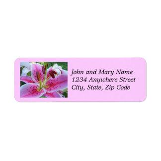 Etiquetas florales del remite del lirio rosado del etiqueta de remitente