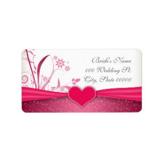Etiquetas florales del rosa y blancas del boda de  etiquetas de dirección