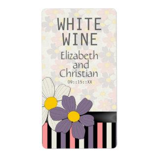 Etiquetas florales del vino del boda del deslumbra etiqueta de envío