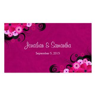 Etiquetas florales fucsias del favor del favor del tarjetas de visita