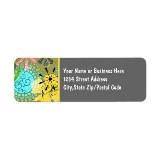 Etiquetas florales retras de 1 remite de Avery Etiqueta De Remite