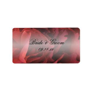 Etiquetas florales rojas del favor del boda etiquetas de dirección