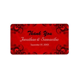 Etiquetas florales rojas del favor del favor del etiquetas de dirección