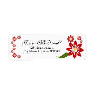 Etiquetas florales rojas elegantes etiqueta de remitente
