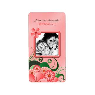 Etiquetas florales rosadas del favor de la foto etiqueta de dirección
