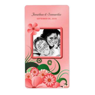 Etiquetas florales rosadas del vino de la foto del etiqueta de envío