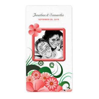 Etiquetas florales rosadas del vino de la foto del etiquetas de envío