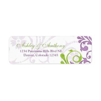 Etiquetas florales verdes púrpuras del remite del  etiqueta de remite