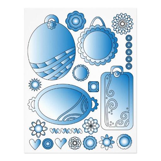 Etiquetas, flores y corazones azules - gráficos de plantilla de membrete