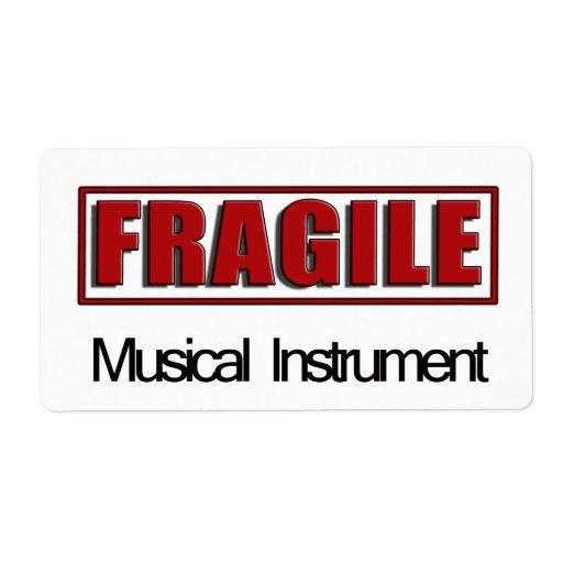 Etiquetas frágiles del instrumento musical etiqueta de envío
