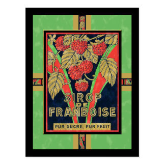 Etiquetas francesas del jarabe de la frambuesa del postal