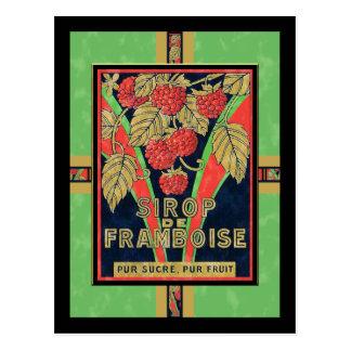 Etiquetas francesas del jarabe de la frambuesa del tarjeta postal