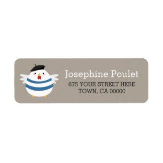 Etiquetas francesas lindas del remite de la etiqueta de remitente