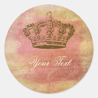 Etiquetas francesas rosa y marfil de los pegatinas etiquetas redondas