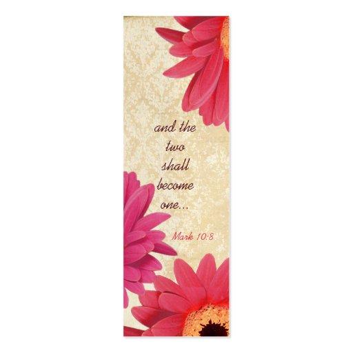 Etiquetas fucsias del boda del damasco coralino de tarjetas de visita mini