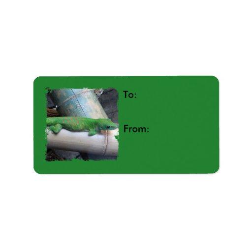 Etiquetas gigantes del regalo del verde del Gecko Etiquetas De Dirección