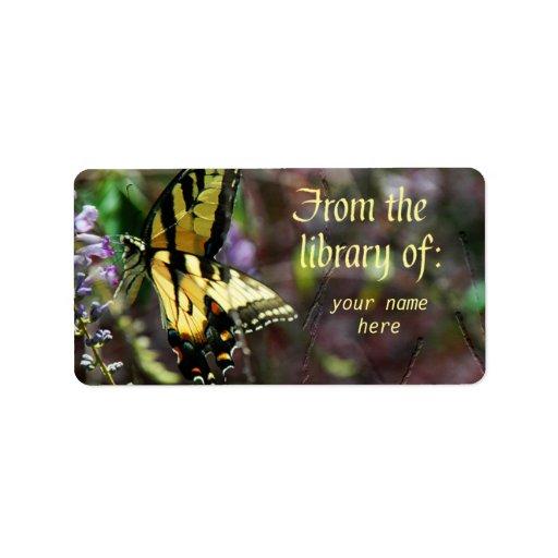 Etiquetas góticas del Bookplate de la mariposa Etiqueta De Dirección