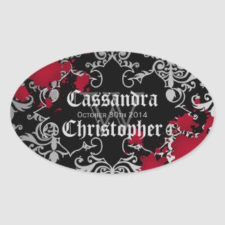 Etiquetas góticas del favor del boda de Halloween Pegatina Ovalada