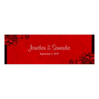 Etiquetas góticas florales rojo oscuro florales tarjetas de visita mini