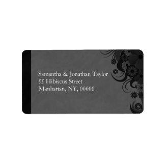 Etiquetas grandes florales negras y grises del etiquetas de dirección