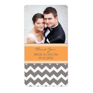 Etiquetas grises anaranjadas del boda de la foto d etiquetas de envío