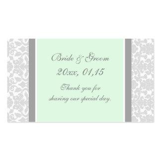 Etiquetas grises del favor del boda del damasco de tarjetas de visita