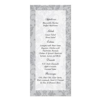 etiquetas grises del menú del boda del damasco del tarjetas publicitarias personalizadas