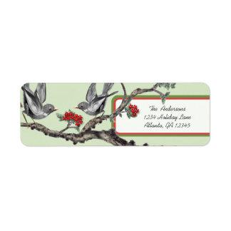 Etiquetas grises del navidad de los pájaros del etiqueta de remitente