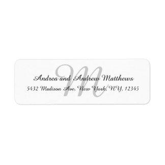 Etiquetas grises del remite del monograma para los etiqueta de remite