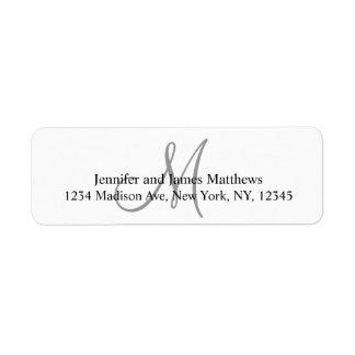 Etiquetas grises del remite del monograma para los etiqueta de remitente