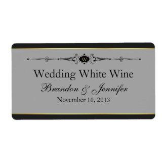 Etiquetas grises, negras y del oro mini del vino d etiqueta de envío